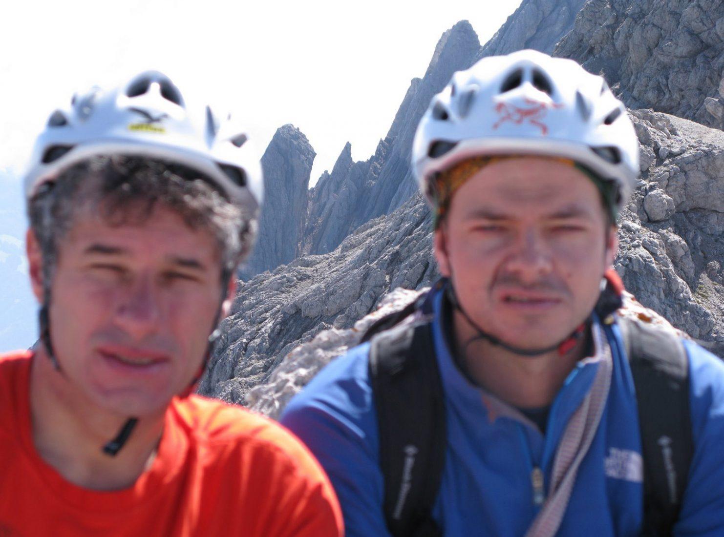 Michael Larcher und sein Nachfolger Peter Plattner 2008 in den Lienzer Dolomiten.