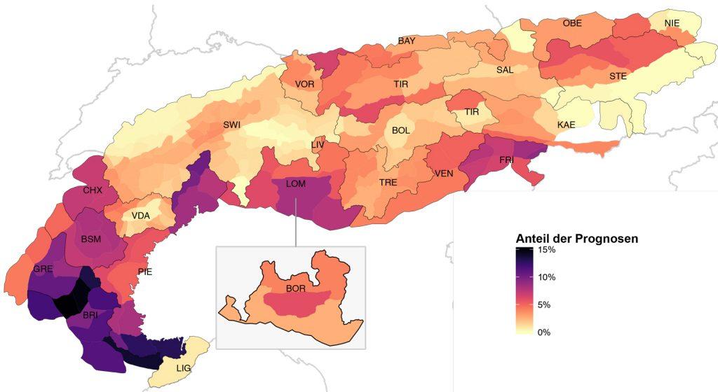 Abb. 3 Die unterschiedlichen Warnregionen der Alpen mit dem Anteil von ausgegebener Stufe 4 & 5 in den Wintern 2011/12 bis 2014/15. Schwarze Linien symbolisieren die Grenzen von nationalen oder regionalen Lawinenwarndiensten. Für die Region Lombardei existierten für diese Auswertung Einschätzungen von zwei regionalen Lawinenwarndiensten. LOM wird von der AINEVA eingeschätzt, während BOR von Meteomont herausgegeben wird. Die Farbe zeigt wie häufig verschiedene Warndienste die Gefahrenstufe 4-Groß und 5-Sehr Groß im Verhältnis in diesen vier Jahren verwendet haben. Je mehr die Farbe ins Dunkelviolette geht, umso häufiger, je heller umso weniger.