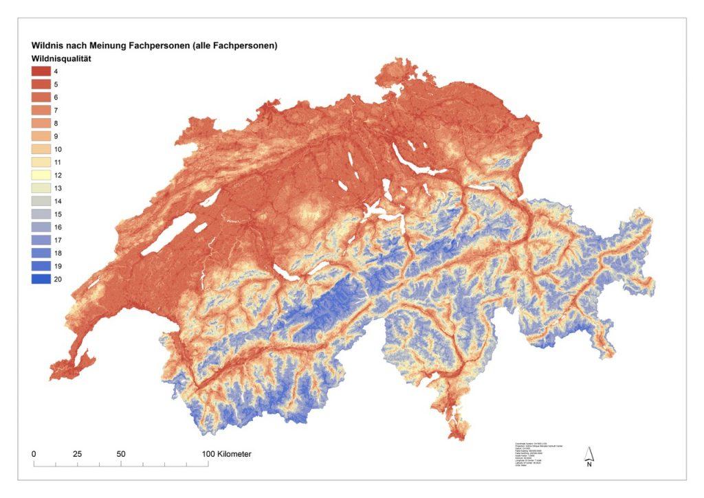 """Die Wildnisqualität der Schweiz basierend auf den vier Kriterien """"Natürlichkeit"""", """"Menschliche Einflüsse"""", """"Abgeschiedenheit"""" und """"Rauheit der Topographie"""", gewichtet nach der Meinung von 22 befragten Fachpersonen. Die Wildnisqualität ist auf einer kontinuierlichen Farbskala dargestellt. Dunkelblau sind die Flächen mit der höchsten Wildnisqualität, rote Flächen haben die niedrigste Wildnisqualität."""