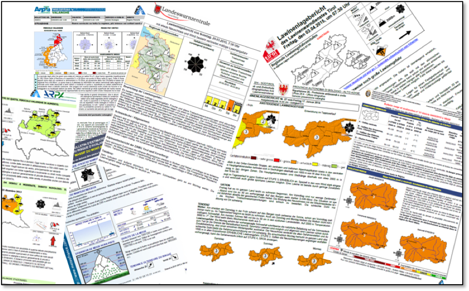 Abb. 2 Alle möchten das Gleiche sagen, keines ist gleich wie das andere. Trotz des einheitlichen Aufbaus anhand der EAWS-Informationspyramide wird die Lawinengefahr in den Alpen von Warndienst zu Warndienst unterschiedlich kommuniziert. I bergundsteigen.blog