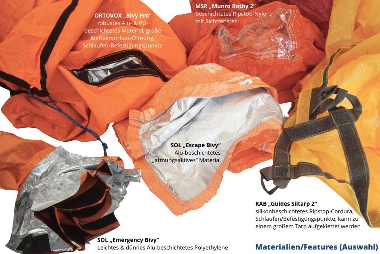 Materialien und Features Biwaksäcke
