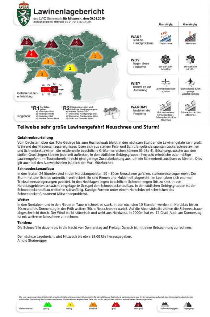 Der steirische Lawinenlagebericht für Mittwoch den 9.1.2019, herausgegeben vom LWD-Steiermark I bergundsteigen.blog