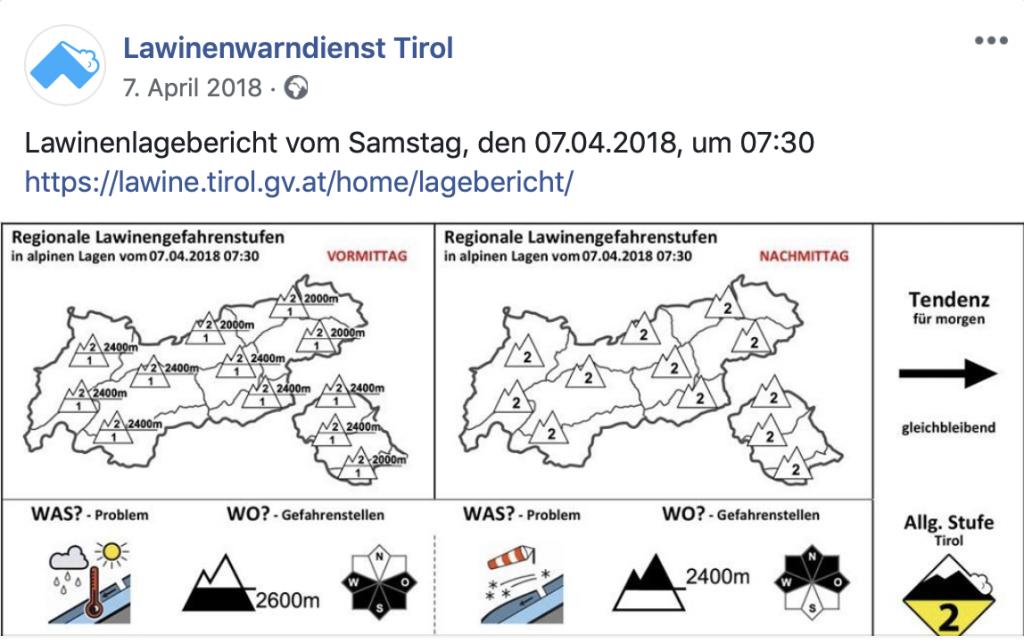 Vorschau Lawinenlagebericht vom 7. April 2018 I bergundsteigen.blog