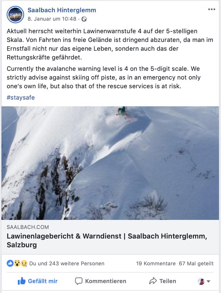 Lokaler Lawinenlagebericht Saalbach I bergundsteigen.blog