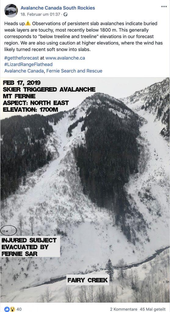 Beispiel für Post von Avalanche Canada South Rockies I bergundsteigen.blog