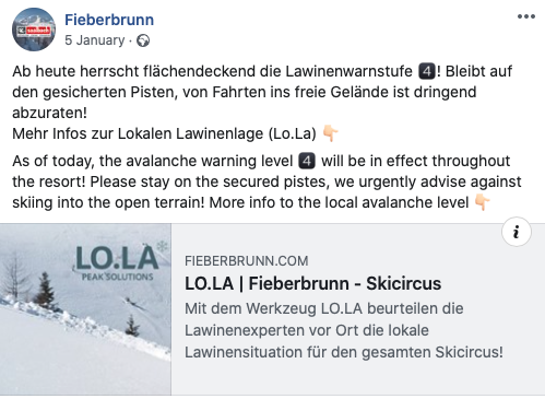 Abb. 6 Lokaler Experten-Lagebericht vom Skicircus Saalbach Hinterglemm Leogang Fieberbrunn.