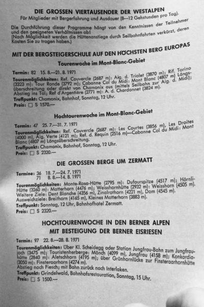 """Programm """"Sommer 1971"""": Die klassischen Westalpen-Gebiete (mit tw. engagierten  Touren), …"""
