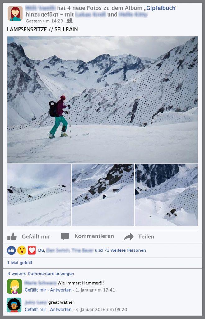 Follow-Content sind u.a. schöne, positive Skitourenposts mit wenig Informationsgehalt, auch die Leser reagieren positiv. Ziel ist es, eine große Reichweite zu erzielen.
