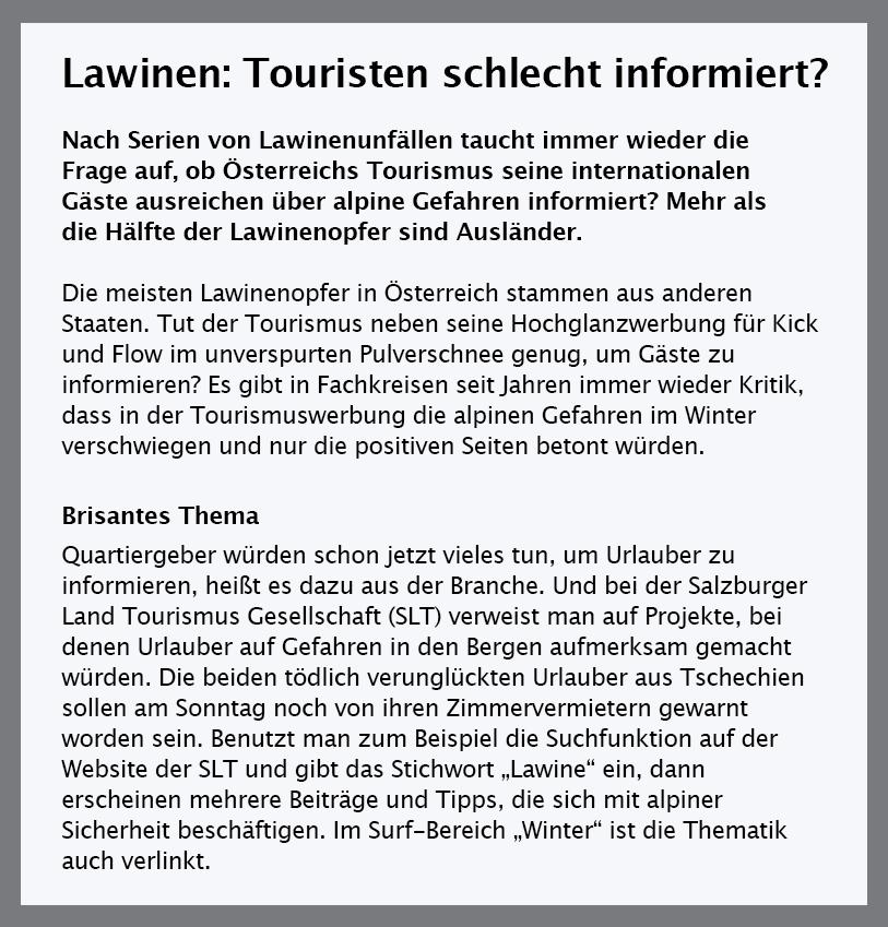Abb. 12 Medienverantwortung im Salzburger Land – darf Pulver als Touristenattraktion verwendet werden oder muss auch immer gleichzeitig über Lawinengefahr informiert werden? Quelle: salzburg.orf.at vom 24.1.2017