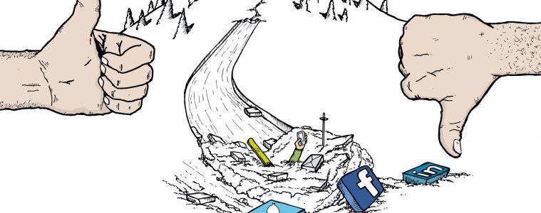 Avalanche goes social. Beitrag von Riki Daurer, Illu Roman Hösel I bergundsteigen.blog