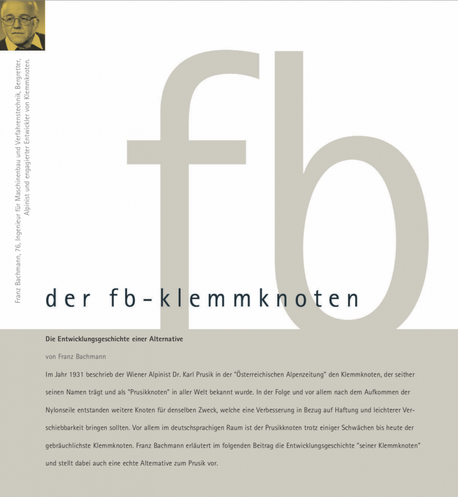 Franz Bachmann über bergundsteigen einen Beitrag über den FB-Klemmknoten und dessen Entstehungsgeschichte