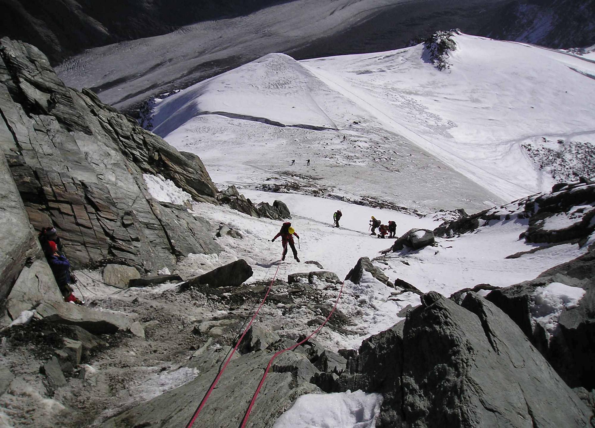 Das Glocknerleitl am Großglockner. Im September 2003 eine feine Eis-/Schneeflanke ... Foto: Archiv Gatt I bergundsteigen.blog