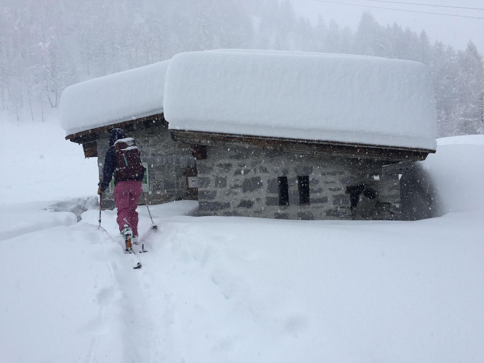 Starke Staulagen im Süden führten mehrfach zu ausgiebigen Schneefällen und neuen Schneerekorden. Eindrückliche Schneehöhe auf der Alpe di Valleggia im Val Bedretto, Tessin. Foto: T. Schneidt/17.11.2019