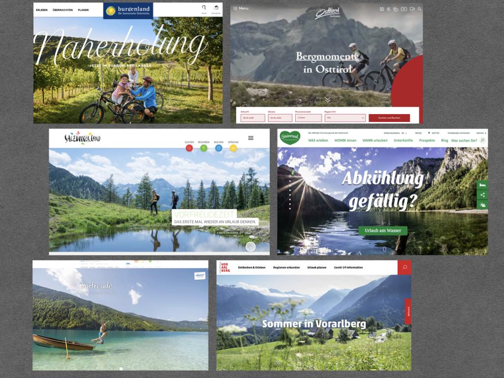 Werbung für den Sommerurlaub in Österreich. Screenshots einiger der Landes-Tourismusverbände Österreich