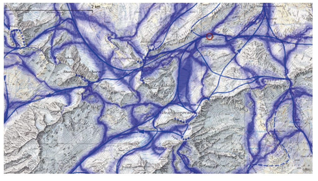 Abb. 6 Automatisch generierte Skitourenkarte von A. Eisenhut (Basiskarte: © Swisstopo).