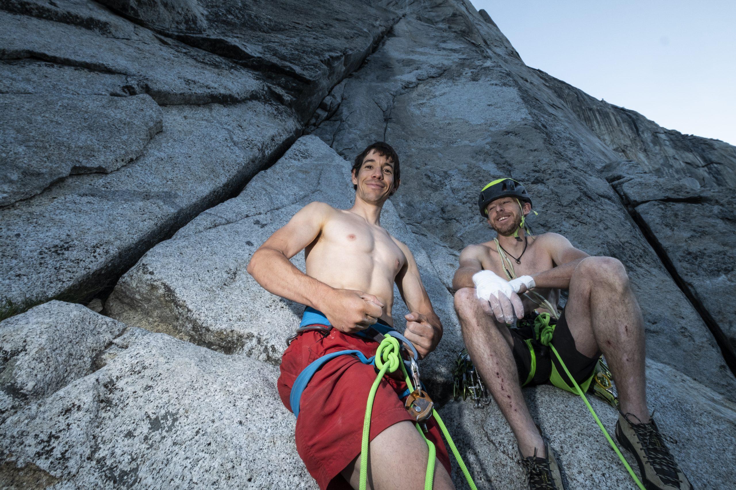 Alex Honnold und Tommy Caldwell bei ihrem Speedrekord an der Nose. Foto: Heinz Zak