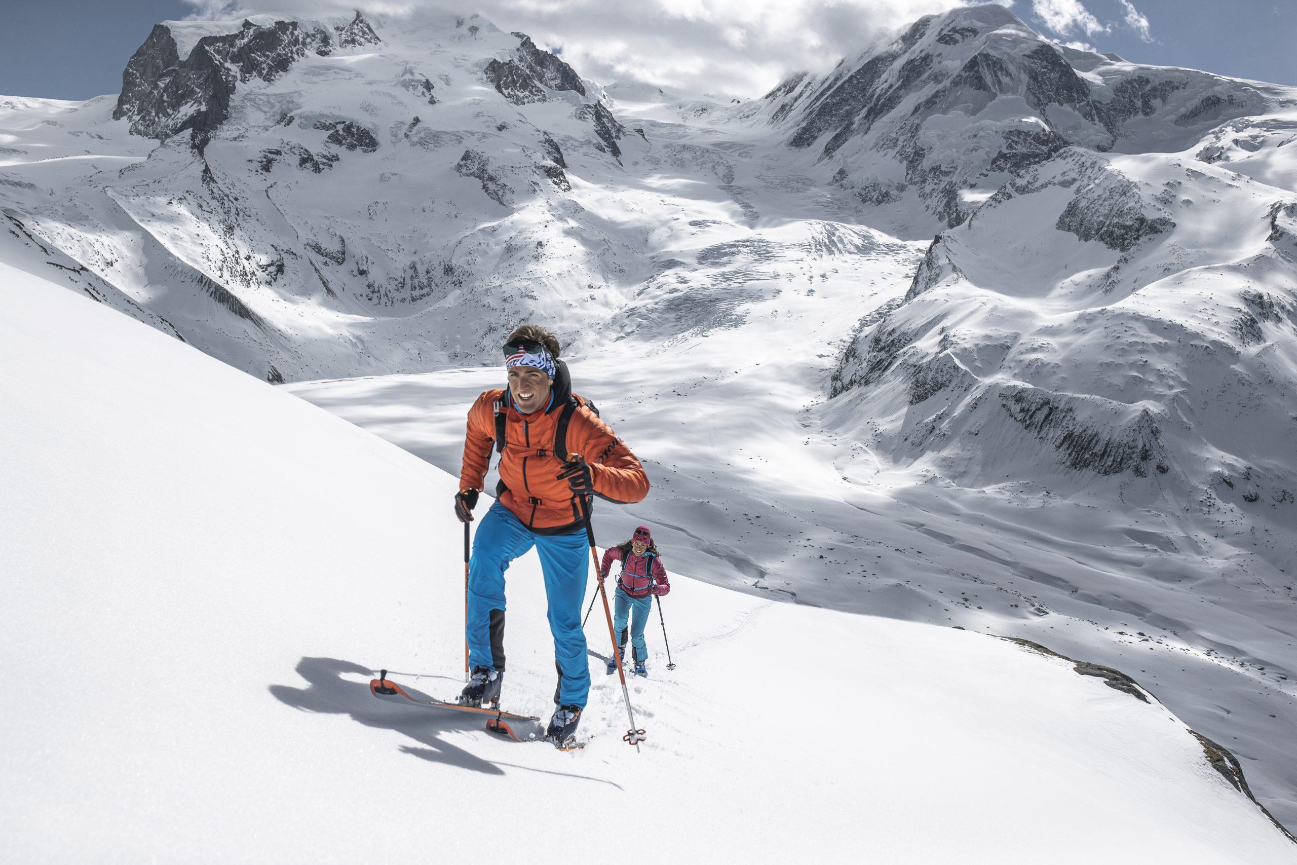 Andy Steindl und Johanna Swatosch bei einem Fotoshooting in Zermatt. Foto: Dynafit
