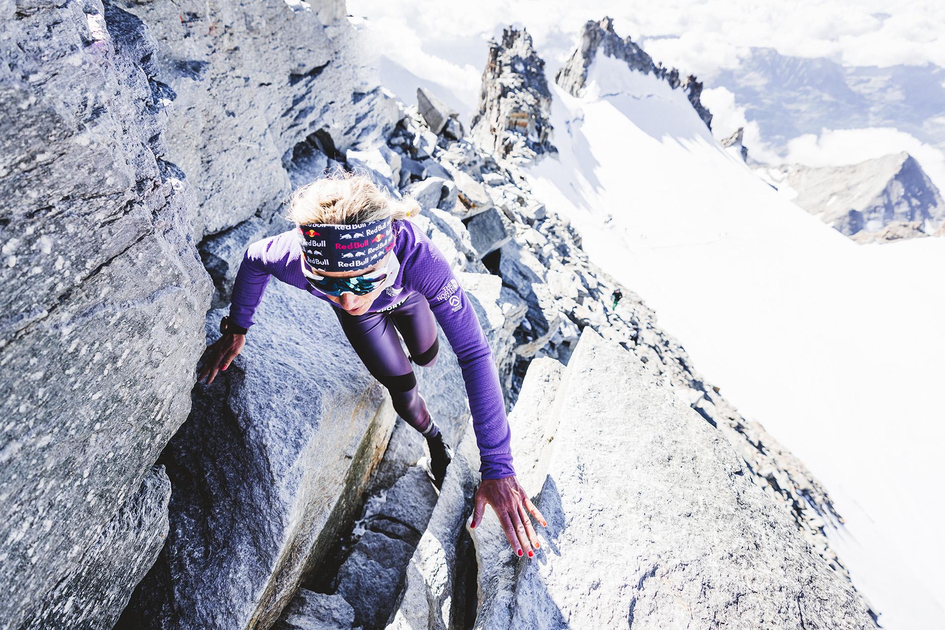 Fernanda Maciel 2020 bei ihrem Rekordlauf auf den Gran Paradiso in 2:40 Stunden. Foto: Mathis Dumas.