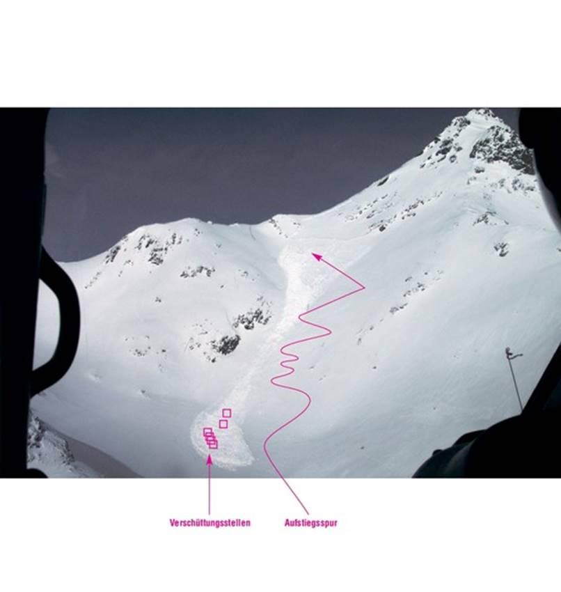 Lawinenunfall Sulzkogel, Nördliche Stubaier Alpen, 2950 m, Südosthang 40°, Gefahrenstufe 3, 3 Tote Foto: Rudi Mair, Patrick Nairz, Tyrolia-Verlag