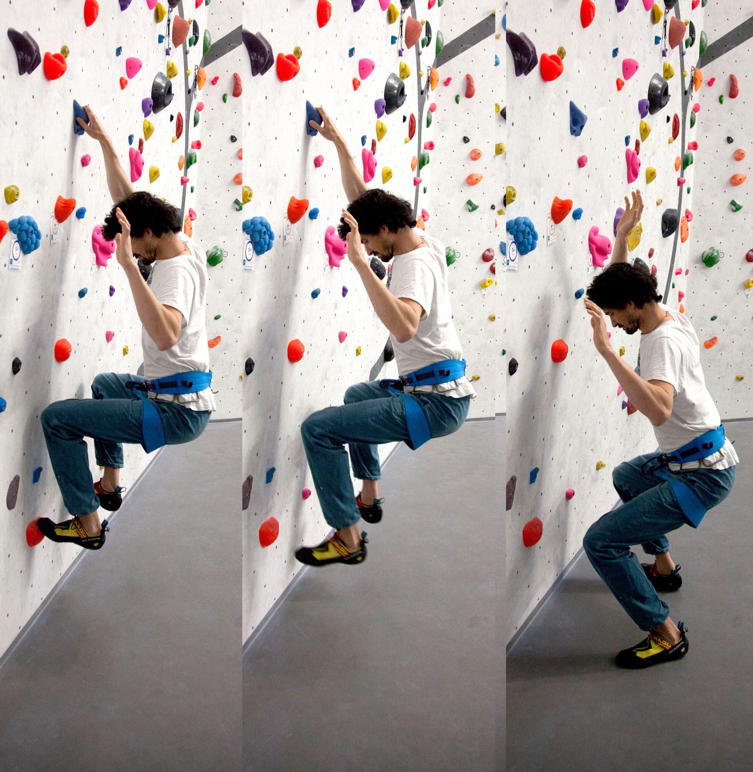 bung 1: Stabile Position einnehmen und abtropfen lassen von der Wand mit gebeugten Knien: Die Füße verlassen gleichzeitig die Tritte und mit der Hand wird losgelassen.