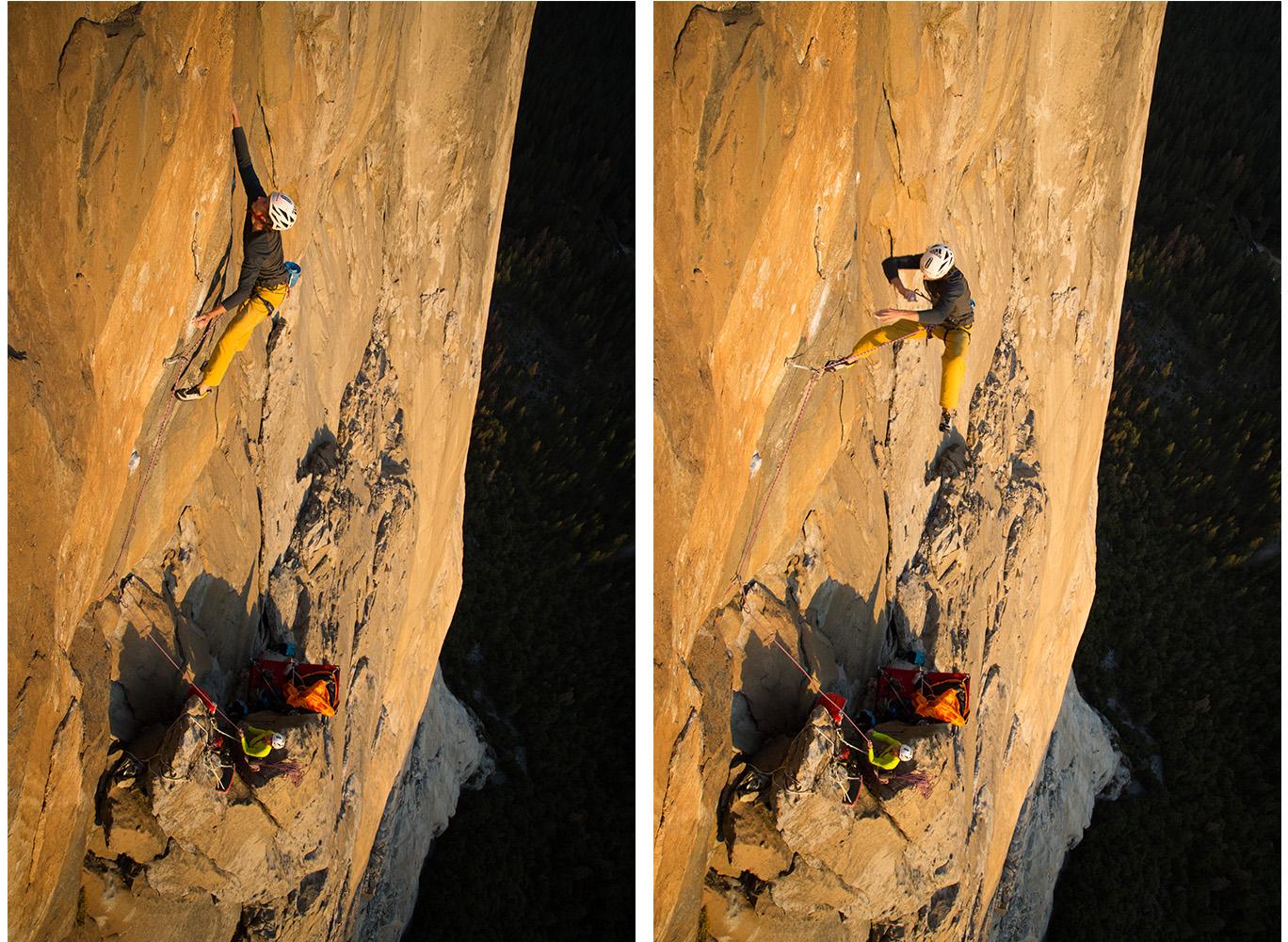 Nur wer sich traut zu stürzen, kann seine volle Leistung abrufen. Christoph Igel stürzt am El Capitan. Das Vertrauen in Material und Sicherungspartnerin Alexandra Schweikart scheinen zu stimmen. Foto: Johannes Ingrisch